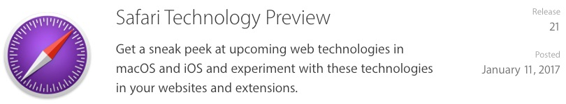 Apple Releases Safari Technology Preview 21