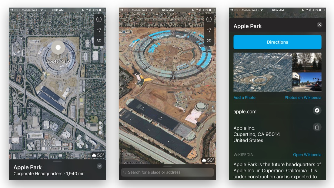 Apple Maps Adds Apple Park Satellite Imagery and Location Details