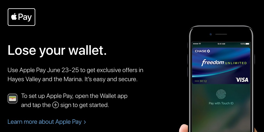 San Francisco Apple Pay Event to Offer Discounts to Hayes Valley and Marina Apple Pay Users