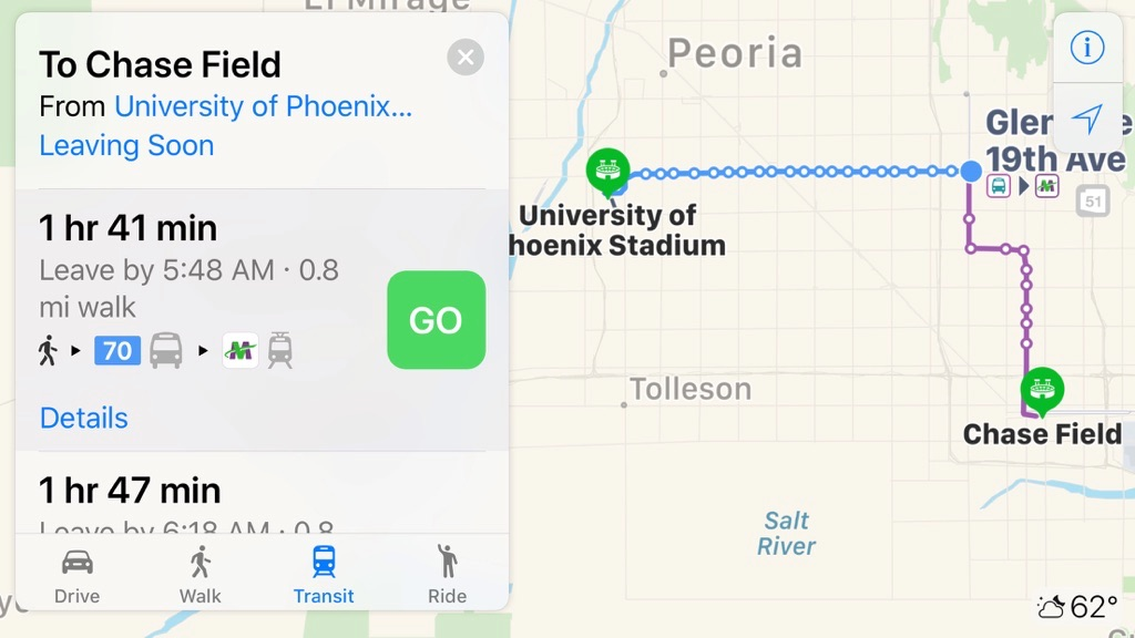 Apple Maps Gets Updated With Phoenix, AZ Transit Information
