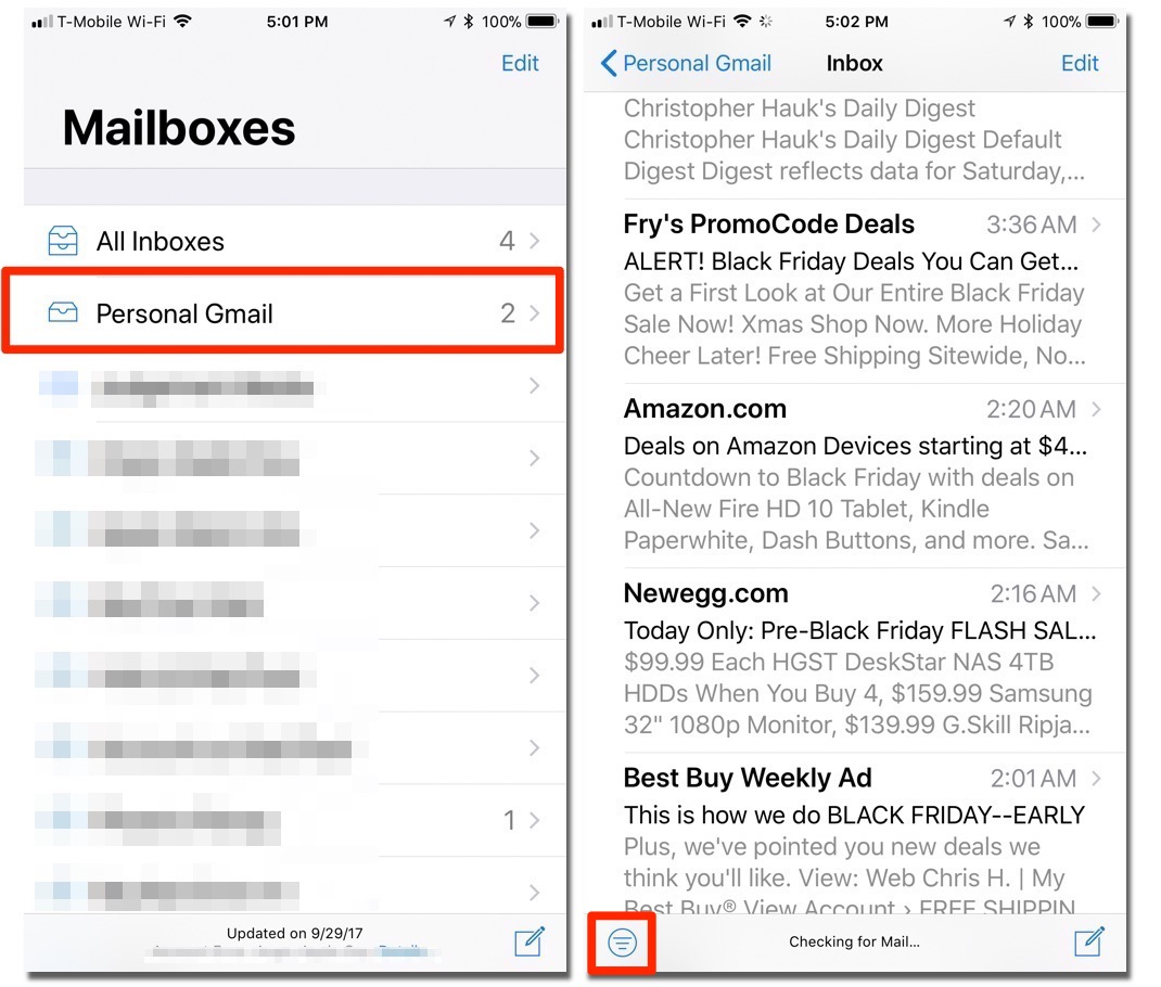 how to delete unread emails on iphone 7 all at once
