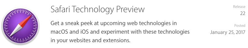 Apple Releases Safari Technology Preview 22 - Includes the Usual Bug Fixes and Updates