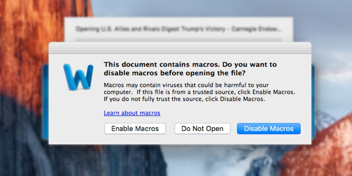 New Mac Malware Uses Old Windows Word Macros Method to Infect Machines