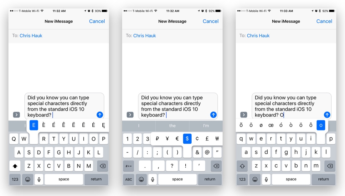 How To Type Special Characters on an iOS 10 Device