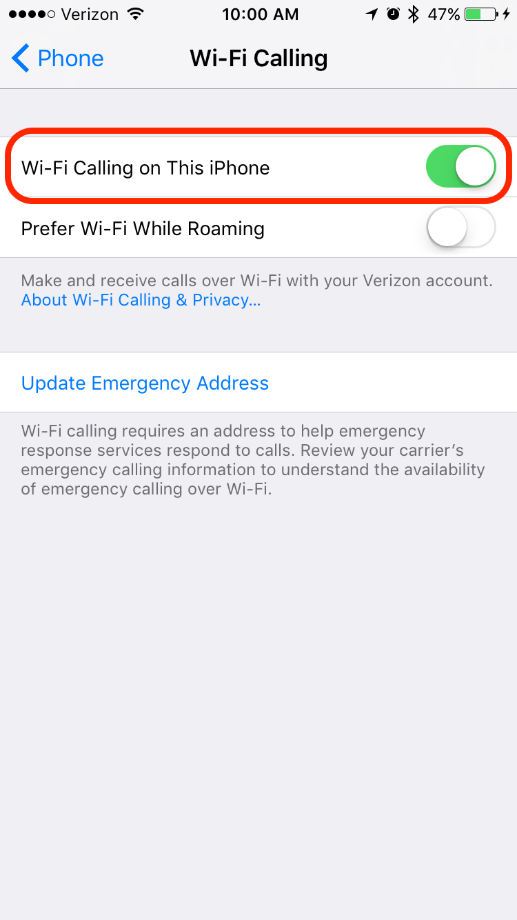 how to turn off calls on iphone but use wifi