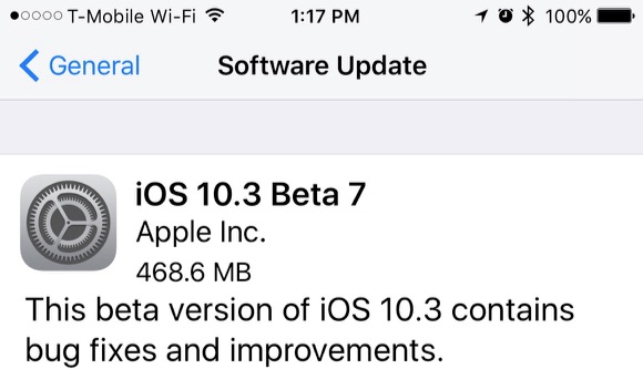 Apple Seeds Seventh Beta of iOS 10.3 to Developers and Public Beta Testers