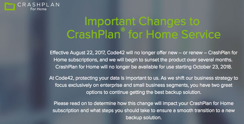 CrashPlan for Home Backup Service to be Discontinued