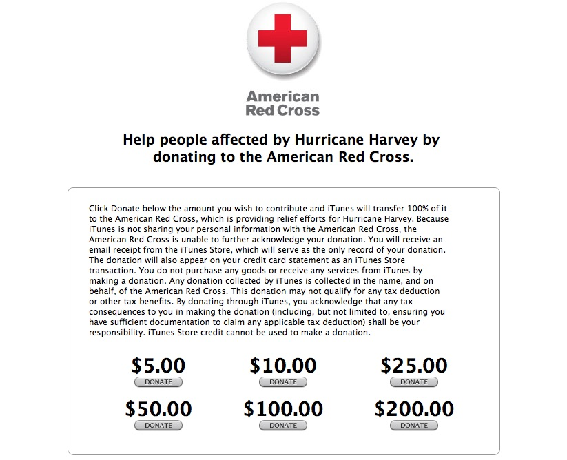 Apple Now Accepting Donations for Red Cross Hurricane Harvey Relief Efforts
