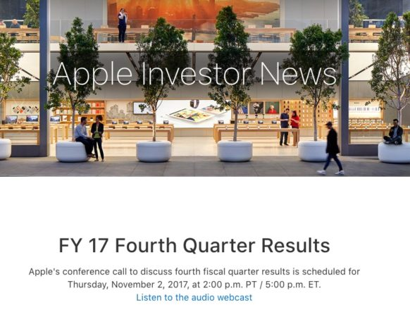 Apple Will Announce Fiscal Q4 2017 Earnings Thursday, November 2