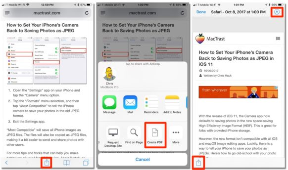 How To Save a Safari Webpage as a PDF with iOS 11