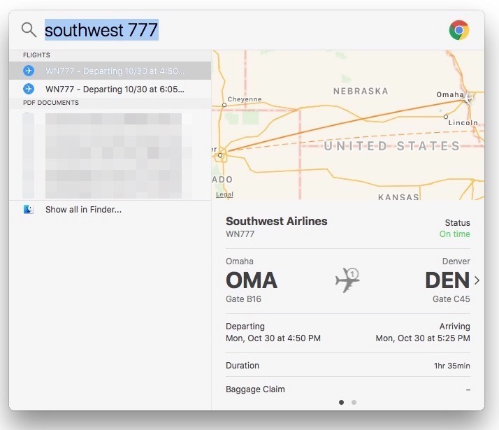 How To Check a Flight's Status Using Spotlight in macOS High Sierra and iOS 11