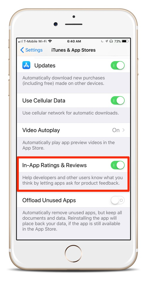 How To Turn Off In-App Review Requests on Your iOS 11 Device