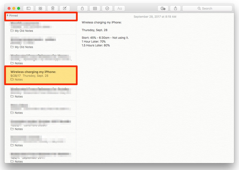 How To Pin a Note to the Top of the Notes List in macOS High Sierra