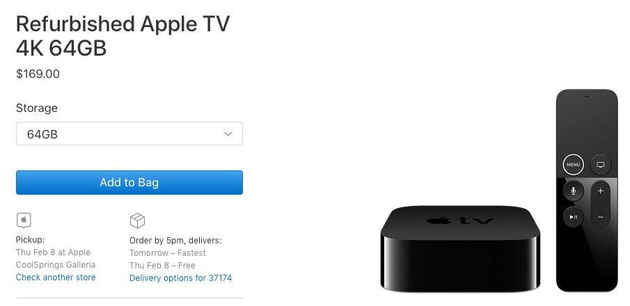 Apple Now Offering Refurbished Apple TV 4K - For Sale From $149