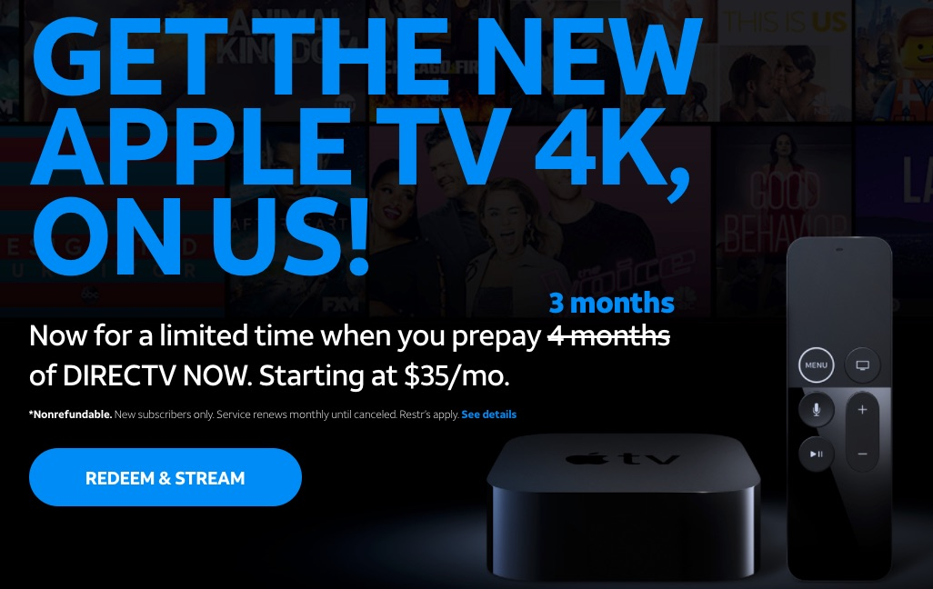 DirecTV Now Streaming Service Extends Free Apple TV 4K Offer