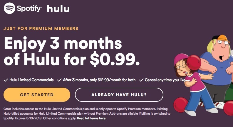 Spotify and Hulu Now Offering $12.99 per Month Bundle