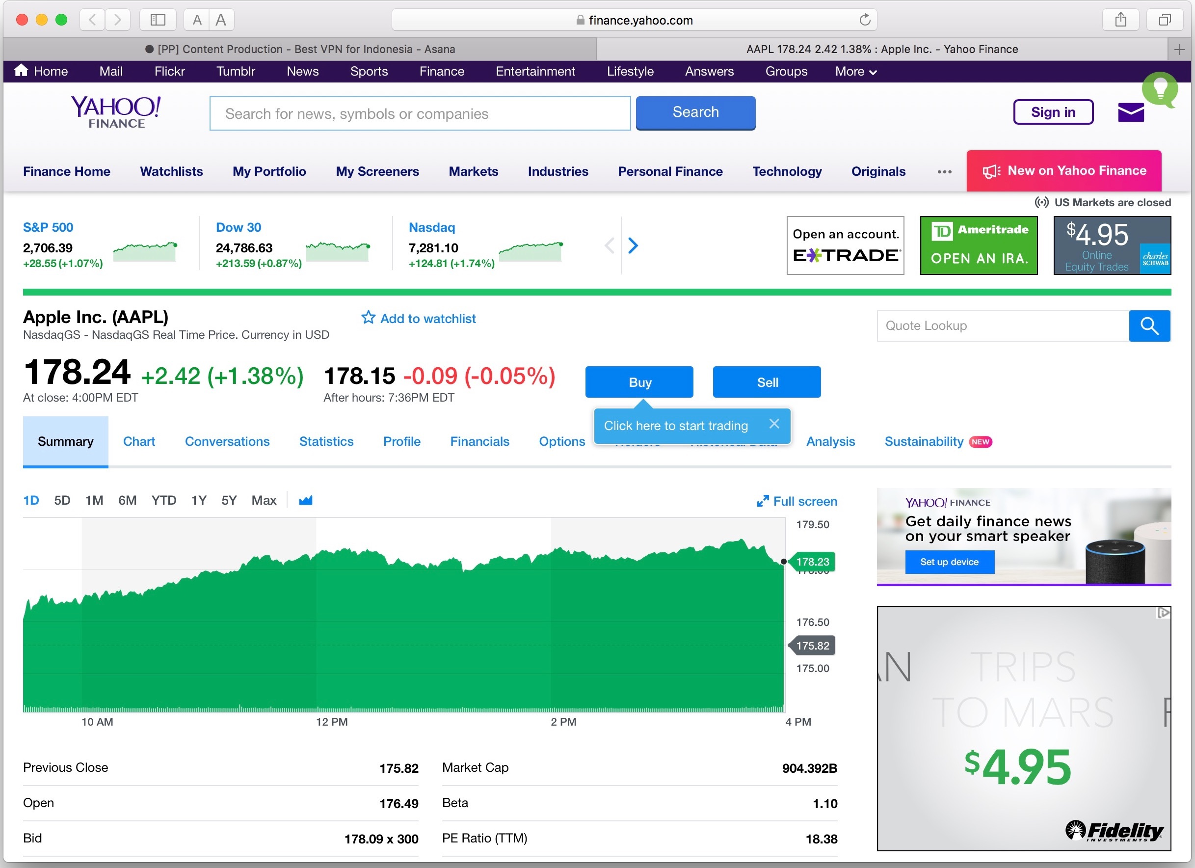 How To Quickly Get a Stock Price in the Safari Address Bar