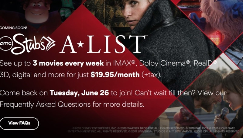 amc announces stubs alist program 1995 per month to