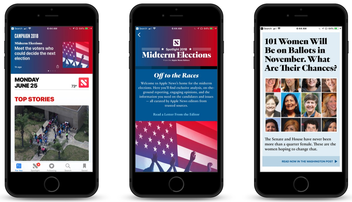 Apple News Adds '2018 Midterm Elections' Section