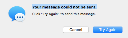 Try Again to deliver Mac Message