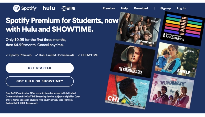 Spotify and Hulu Student $4.99 Subscription Bundle Adds Showtime Sub