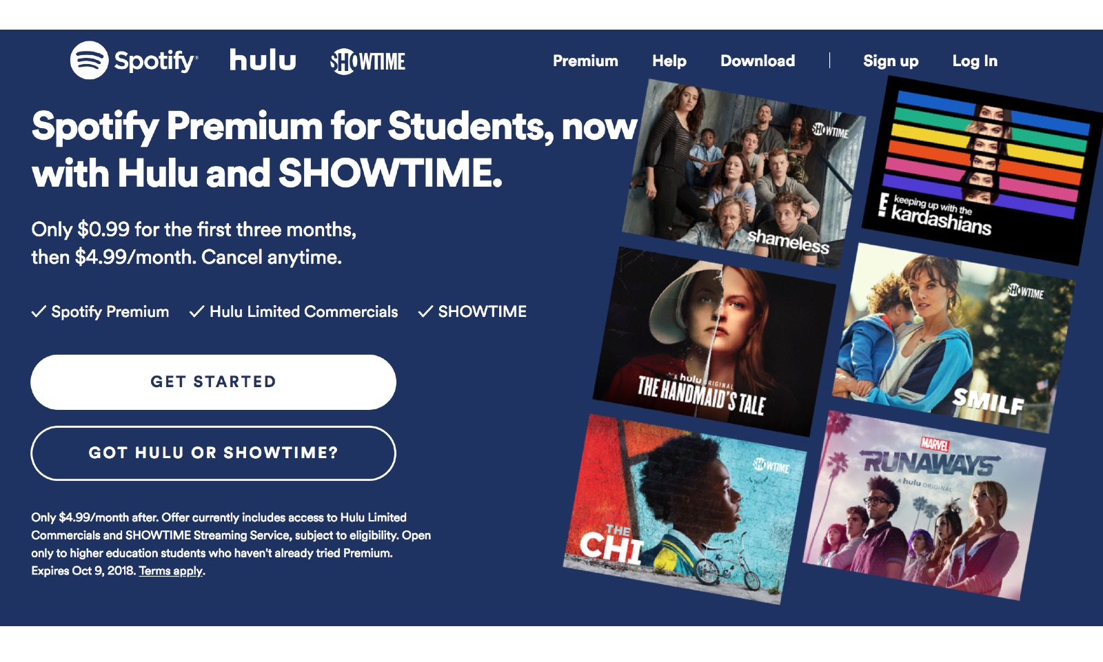 spotify and hulu student subscription bundle adds showtime sub. Black Bedroom Furniture Sets. Home Design Ideas