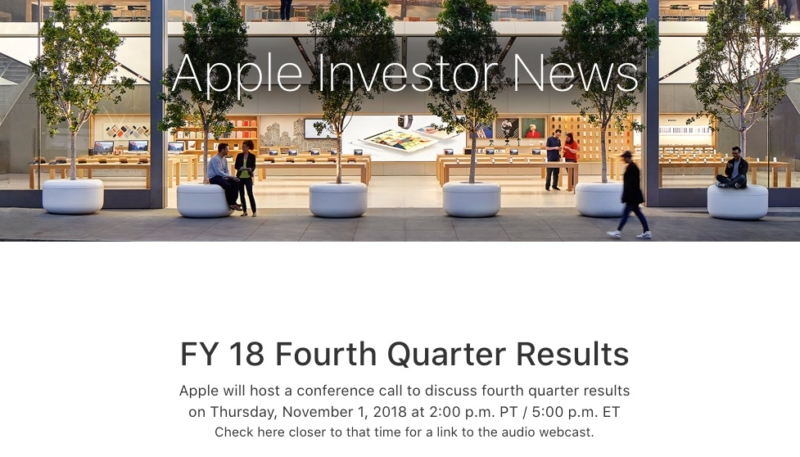 Apple Will Announce Its Q4 2018 Earnings on November 1