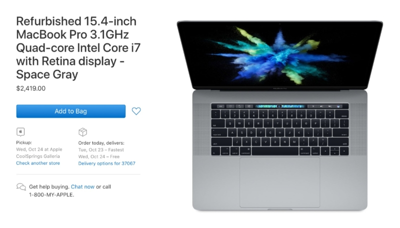 Apple Begins Selling Refurbished 2018 13-Inch & 15-Inch MacBook Pro Models
