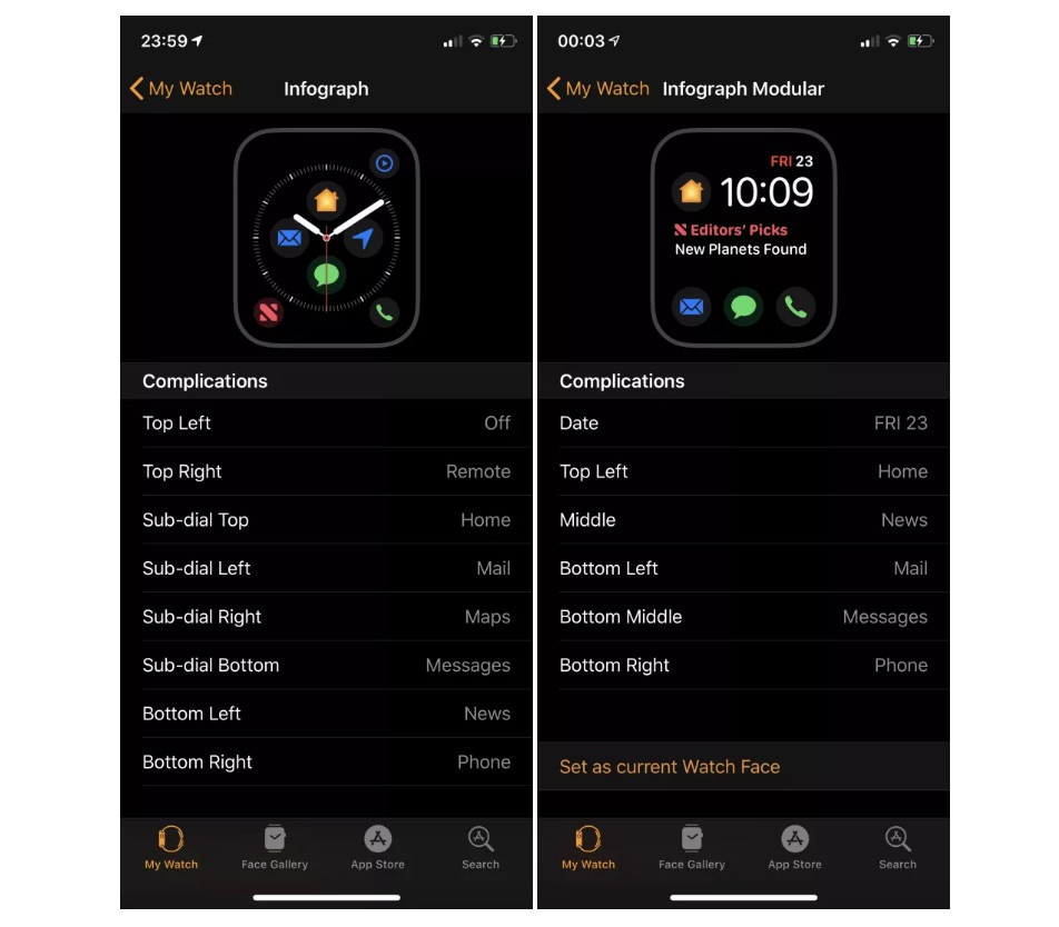 Seven New First-Party Complications Coming Soon to Infograph Watch Faces on Apple Watch Series 4