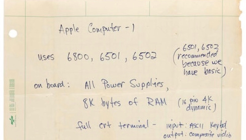 Handwritten Steve Jobs Apple-1 Spec Sheet Fails to Sell at Auction