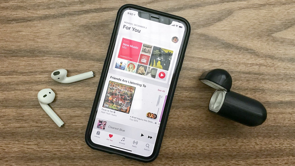 iPhone music app with AirPods and Nomad Rugged AirPod Case