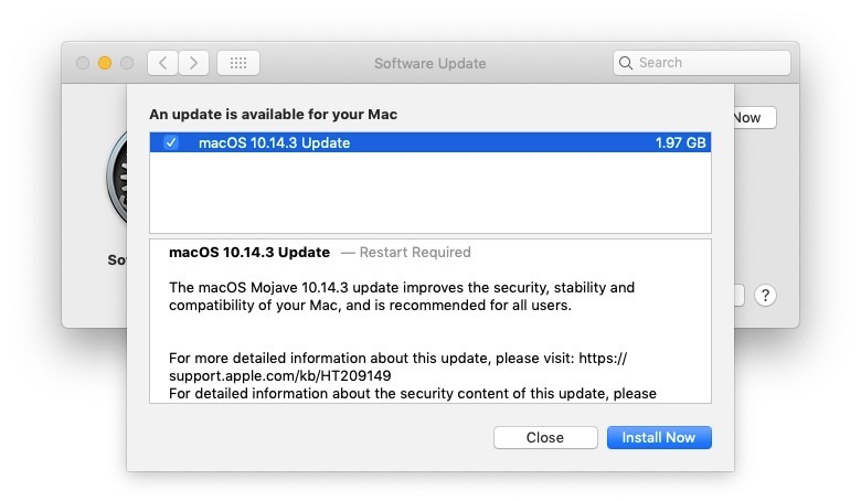 macOS Mojave 10.14.3 Now Available