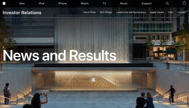 Apple Revamps Investor Relations Page, Includes Newsroom Feed