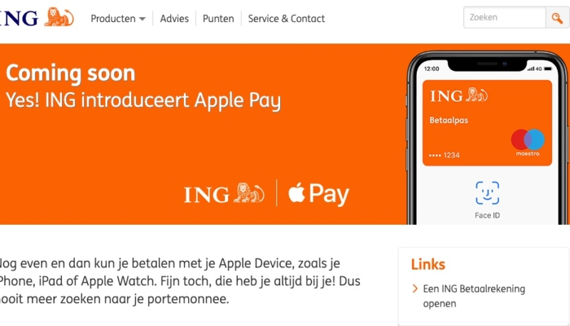 Dutch Bank ING Confirms Apple Pay is 'Coming Soon' to the Netherlands