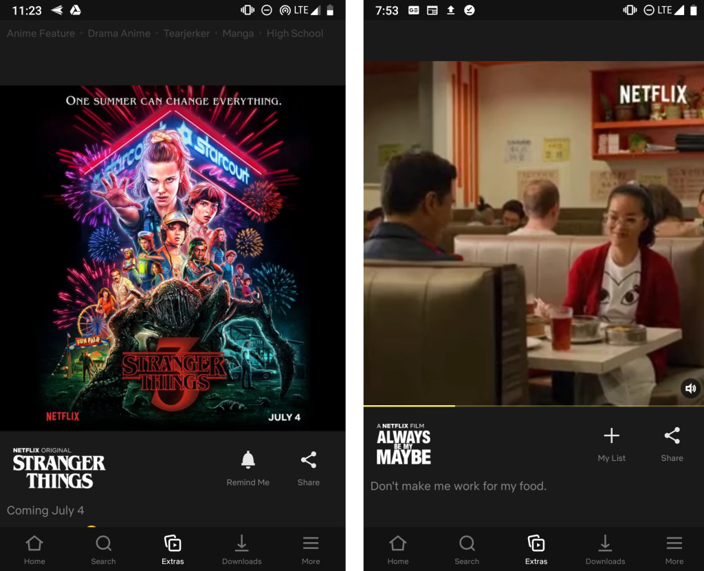Netflix Testing 'Extras' Tab in Mobile App