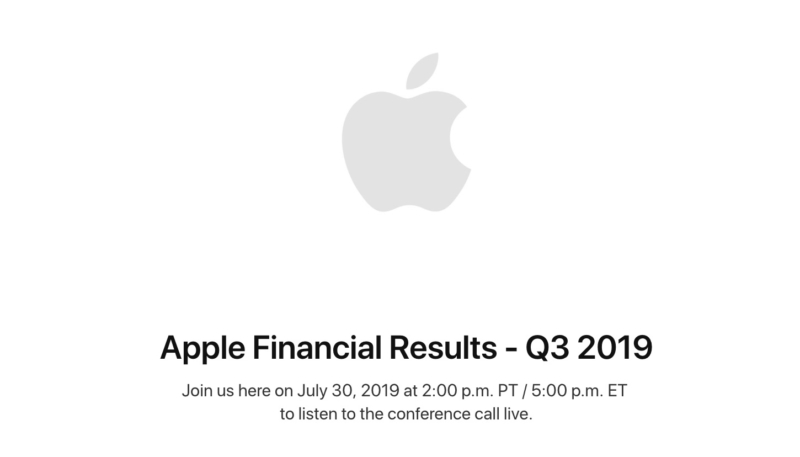 Apple to Announce Q3 2019 Earnings on July 30