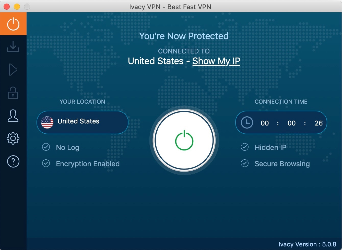 vpn_review_macOS_ivacy_app_connected