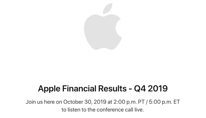 Apple to Announce Fiscal Q4 2019 Earnings on October 30