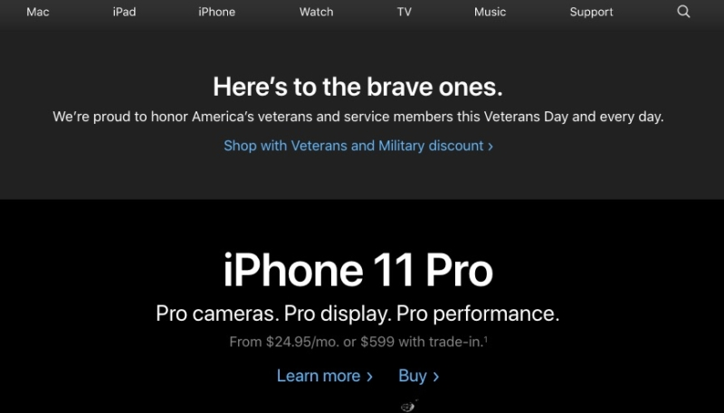 Apple Honors U.S. Military Veterans With Veterans Day Banner on Homepage