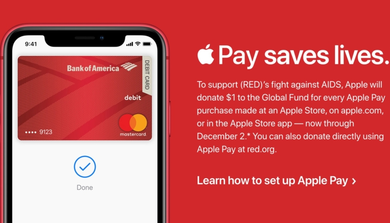 Apple to Donate $1 to (RED) for Each Apple Store Purchase Made With Apple Pay Ahead of World AIDS Day