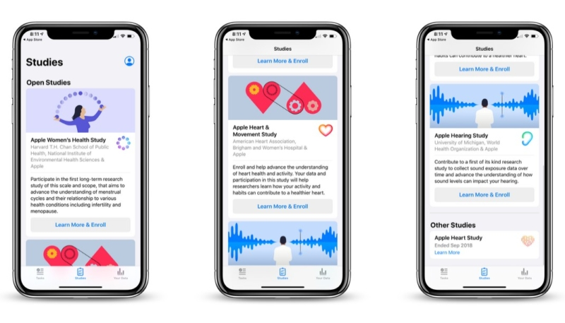 Apple Heart and Movement, Women's Health and Hearing Studies Now Open for Enrollment