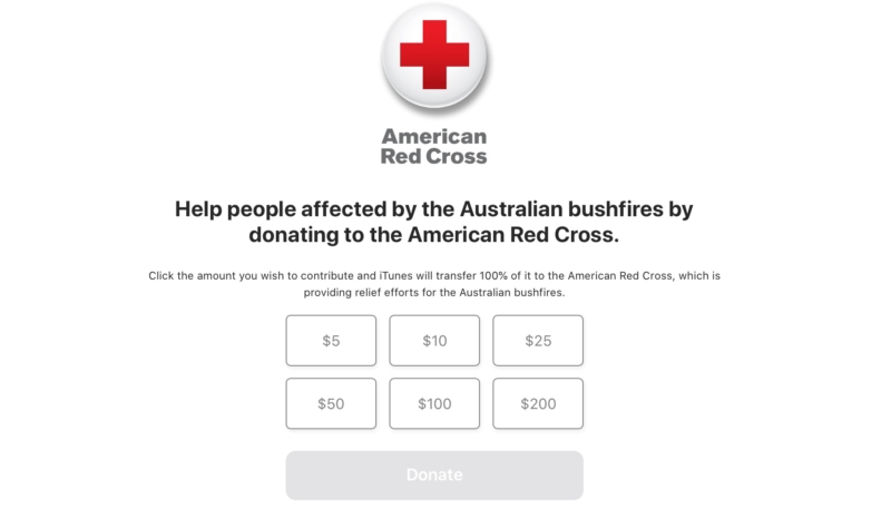 Apple Partnering With Red Cross to Accept Donations to Help Australian Fire Relief Efforts