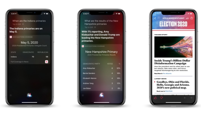 Siri Can Now Answer Questions About the 2020 U.S. Election