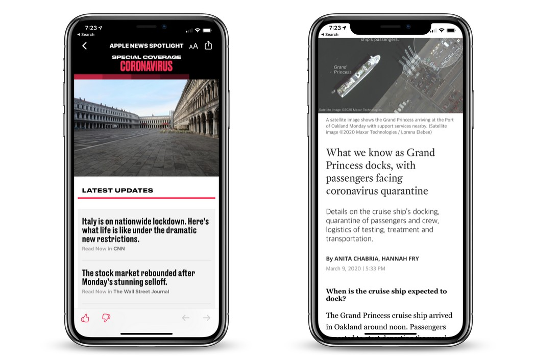 Apple News Service Adds Coronavirus Special Coverage Section