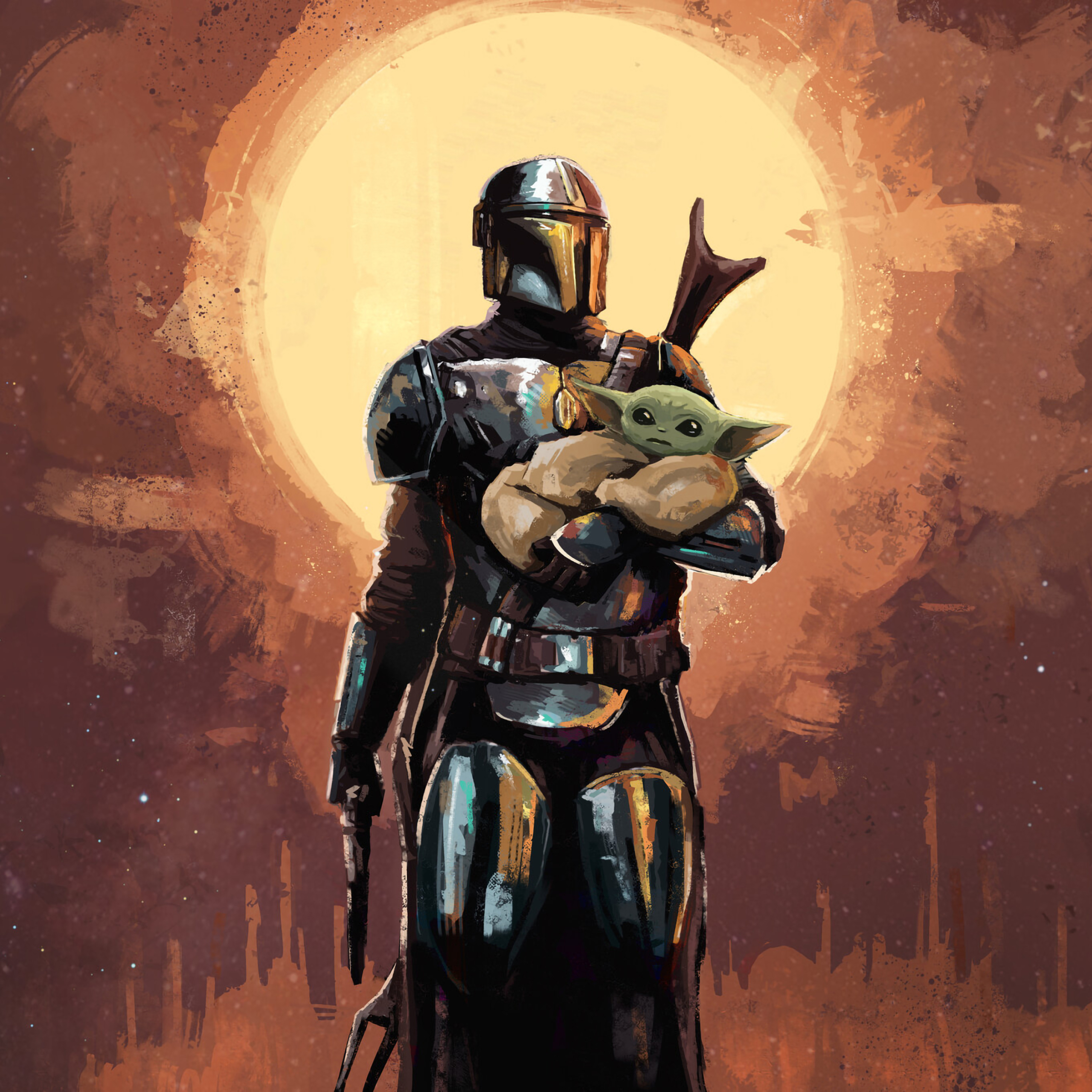 wallpapersden.com the mandalorian and baby yoda art 2932x2932 scaled