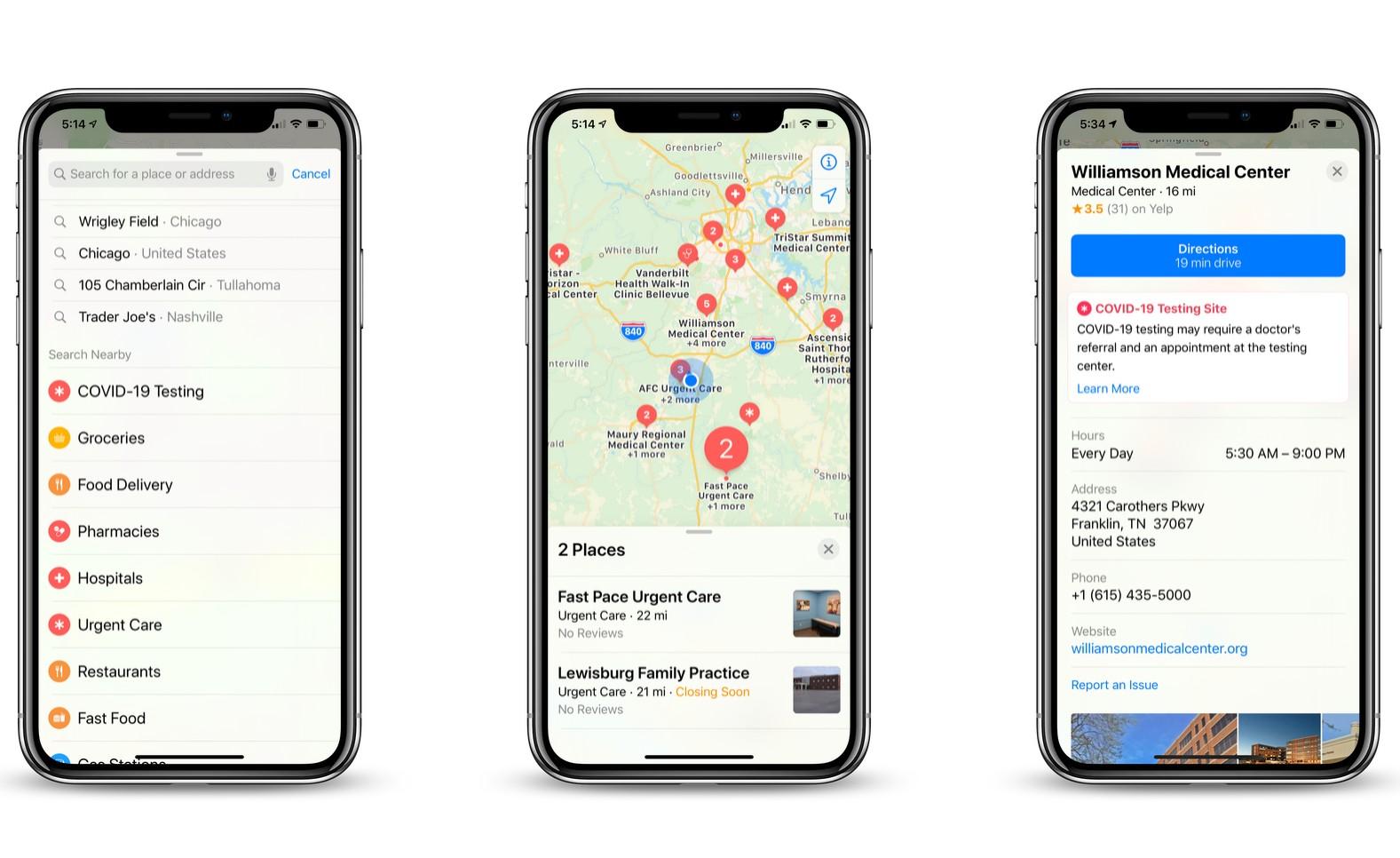 Apple Maps COVID-19 Testing