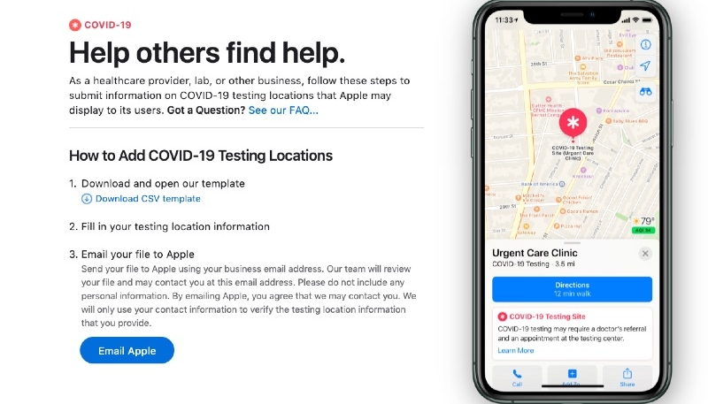 Apple Maps to Soon Directly Display COVID-19 Testing Locations