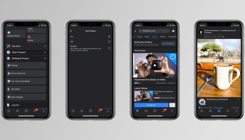 Screenshots Show Facebook is Working on Dark Mode Feature for iOS App