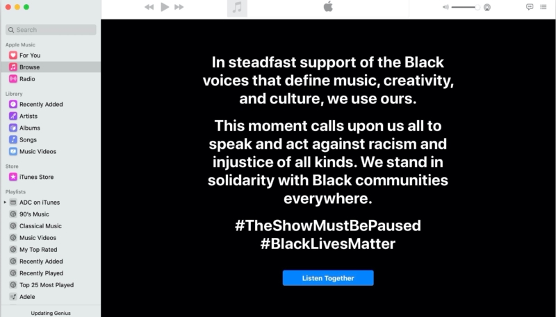 Apple Music Joins Music Industry's Blackout Tuesday Black Lives Matter Awareness Campaign