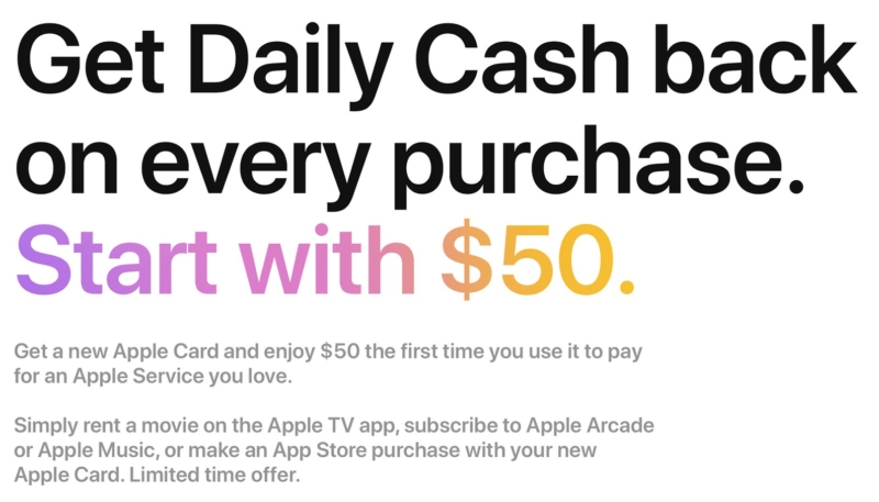 New Apple Card Holders Can Score $50 Daily Cash Bonus for First Apple Services Purchase
